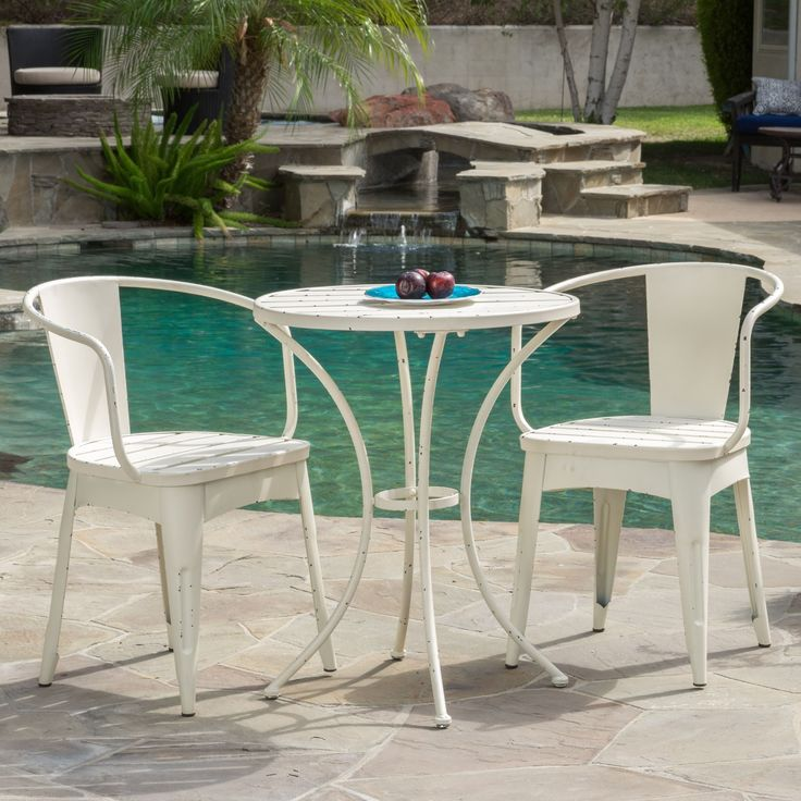 Cheerful and lighthearted in its whimsical styling the Colmar outdoor 3-piece bistro set will entice any passerby to pause for a while and just be.