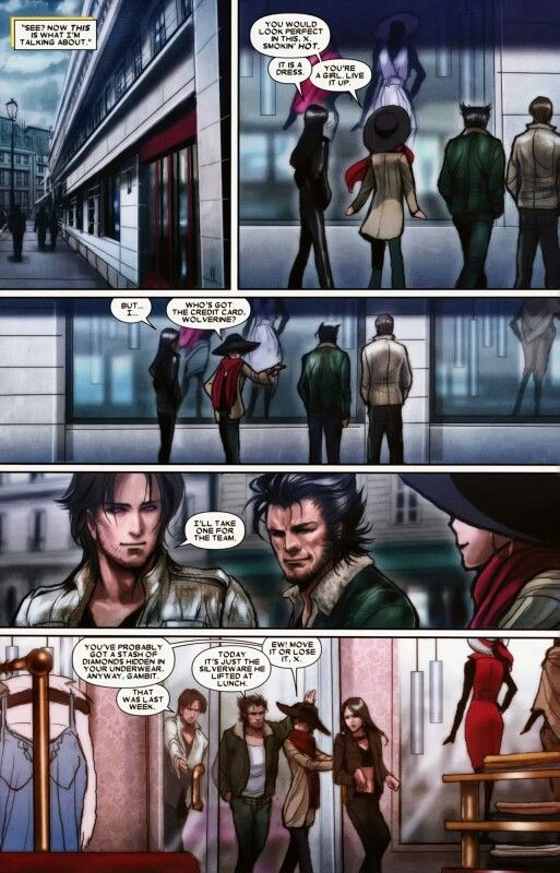 Laura/X -23, Gambit Wolverine and Jubilee shopping ... X 23 Gambit