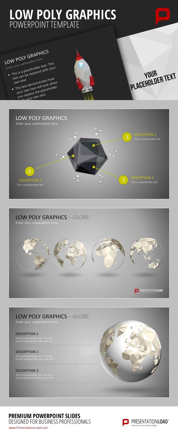 #LowPoly graphics are 3D computer graphics which are created by polygonal modeling. By using the technique of polygonal modeling, three vertices connected as one triangle become one simple polygon. We choose those stylish graphics for our new PowerPoint template Low Poly Graphics:  http://www.presentationload.de/low-poly-grafiken.html