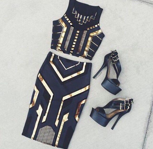 Black & gold bodycon dress
