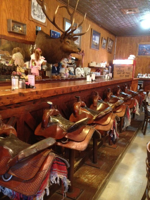 Saddle Bar at OST in Bandera, TX... Frickin AWESOME!!  Not that I like bars, unless they are coffee bars, nor do I care for the Moose on the wall, but you've got to admit, those bar stools, are amazingly awesome!
