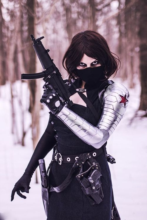Female Winter Soldier Cosplay  I'M IN LOVE.
