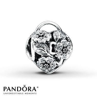 Pandora Charm Floral Heart Padlock Sterling Silver