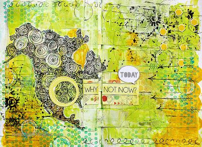 Why not now? art journal spread by Riikka Kovasin for Paperilla challenge 2
