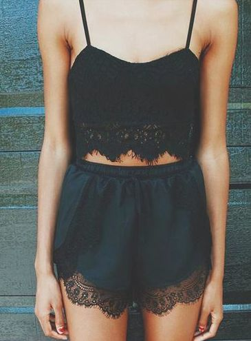 Cute pair!! Flowy black shorts with lace detailing and a crop top with lace detailing | My Style