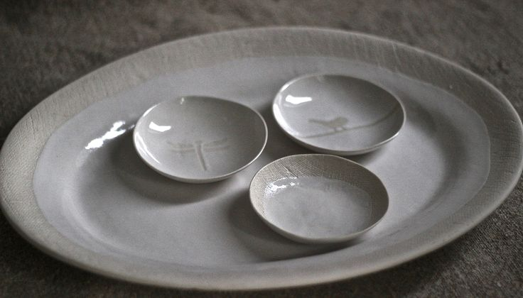 sushi bowls nestelling in an oval platter - Textured range in white stoneware. Clay Art by Sonja Moore
