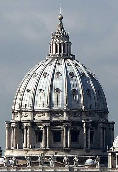 RENESANS. Kopuła bazyliki św. Piotra na Watykanie (Michała Anioł, 1550 - 1590).