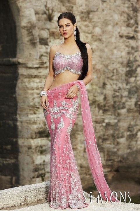 pink. It's so beautiful I love there collection ♥ Hindu / indian bride Wear saree, lehenga, choli from seasonsindia. the model is Neha Dalvi or Maria Sokolovski