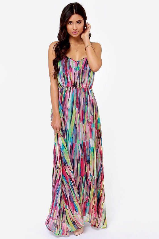 """As Seen On Hadasa of The Dressy Chick! With its combination of colorful print on a maxi length, the Jack by BB Dakota Print Maxi Dress is a stroke of stylish genius! An abstract multicolor print has the appearance of painted strokes on Georgette that flows from sweetheart neckline to a stylish maxi-length hem, for an overall look that is truly a work of art. Adjustable spaghetti straps and an elasticized waist sculpt a stunning fit. Hidden side zipper. Lined. Model is 5'7"""" and is wearing a…"""