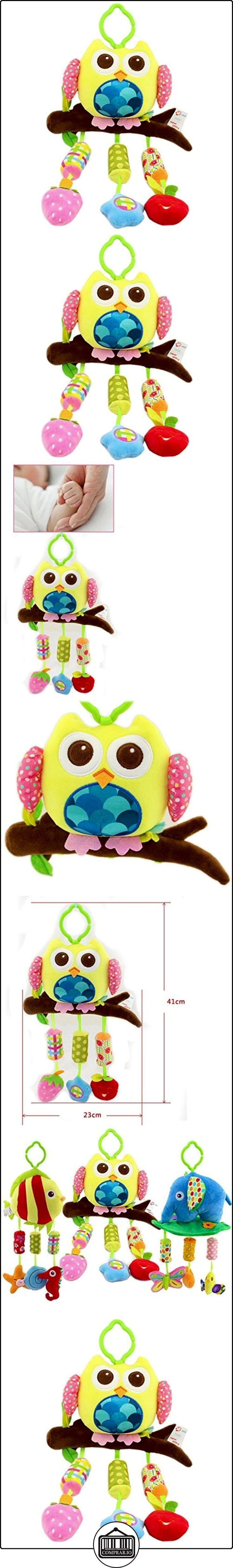 Happy Cherry Muñeca Sonajero Sonaja Colgante Juguete Juego Educativo Peluche de Animales Infantil para Bebés Recién Nacidos Niños Niñas Carrito Cochecito Cuna Infantil Multicolor - Buhó  ✿ Regalos para recién nacidos - Bebes ✿
