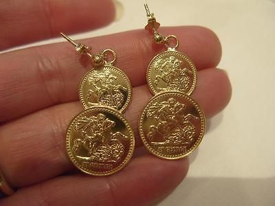 9ct gold on sterling silver double st #george coin drop #earrings #holly willough,  View more on the LINK: 	http://www.zeppy.io/product/gb/2/311774936799/