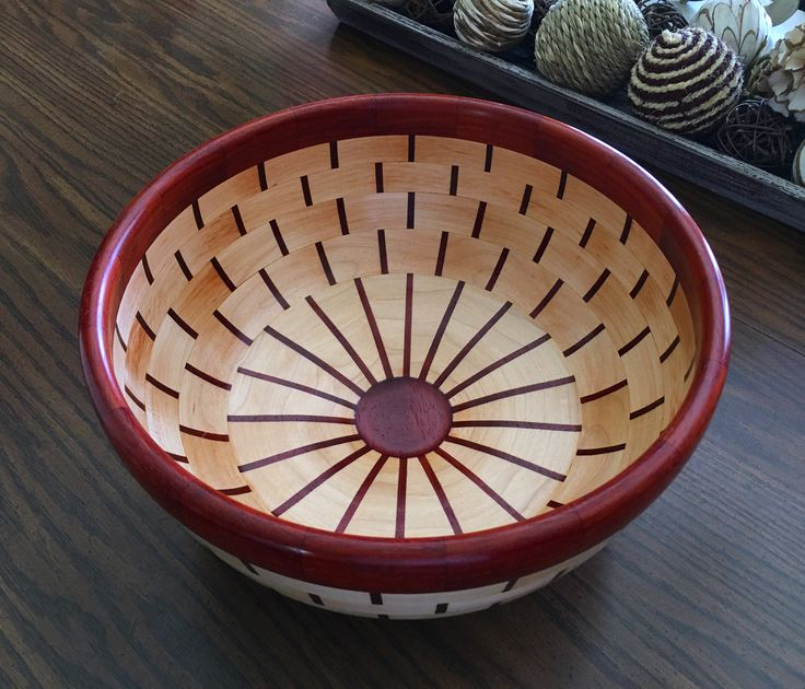 7 ring segmented turned bowl, maple & Paduak