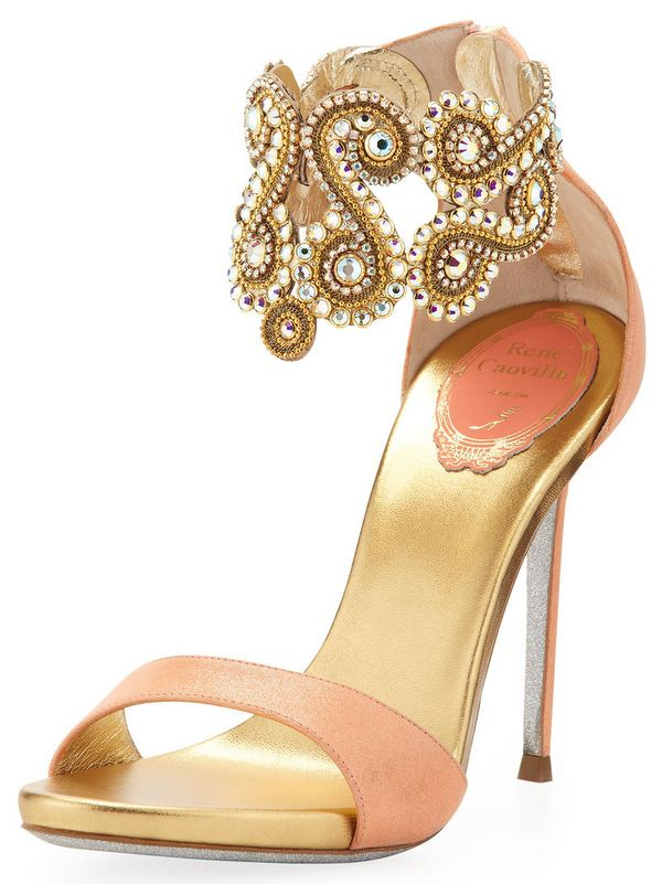 Rene Caovilla Crystal-Embellished Neutral Ankle Bracelet Sandal ~ With a shorter, wider heel, these would add to my Red Carpet look!
