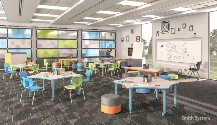 Smith System Classroom featuring Oodle stool and Elemental Line Tables. Set low for k-3 Environment.