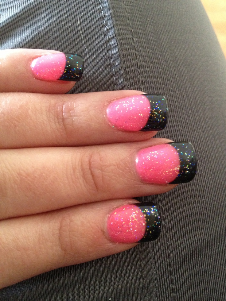 Hot Pink Nails With Black Tips And Iridescent Sparkles