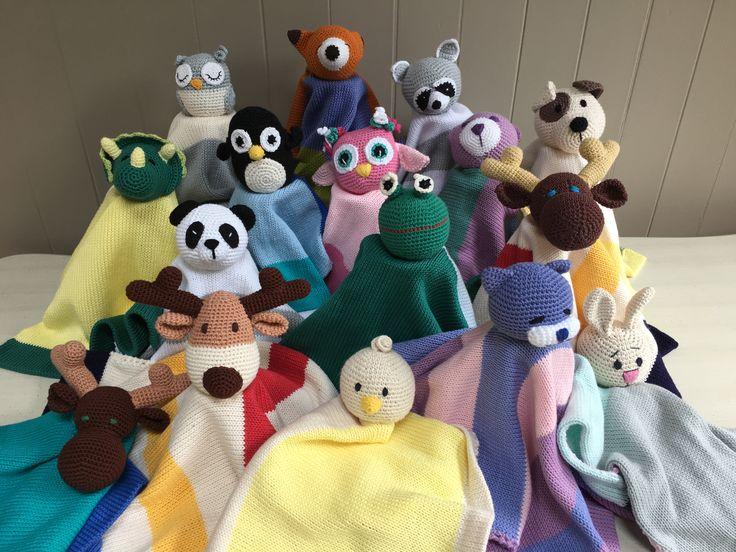 My family of crochet cotton loveys is growing....$ 30 EACH #crochetlovey# thebabyblanketlady# Canada 150# lovey