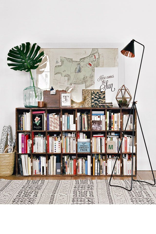 Eclectic bookshelf decor