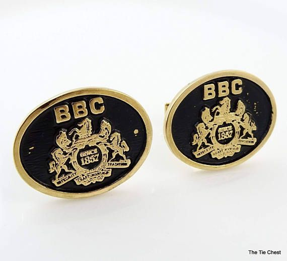 Vintage Cufflinks marked Sterling. BBC Integrity Tradition Craftsmanship Shield  #theTieChest