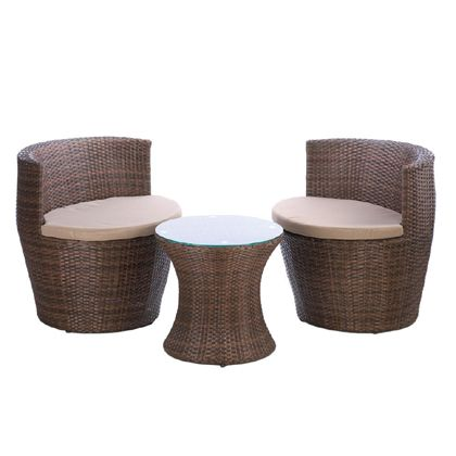 This looks like it would be a nice patio set to have in your yard. It looks high end and comfortable at the same time. How the chairs are shaped promotes people facing each other and talking. Which would be a nice thing to have if you throw a lot of parties in your yard.