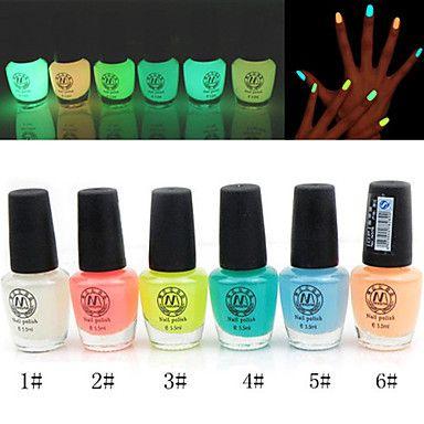 Серебристые лак для ногтей светящиеся в темноте (разные цвета, 6 мл) - RUB p. 124,12