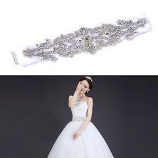 Rhinestone Crystal Beaded Bridal Sash Waistband Dress Pearl Belt Ribbon Wedding