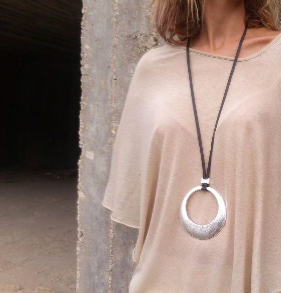 Round pendant necklace, Non leather lace necklace, Long necklace, Statement…