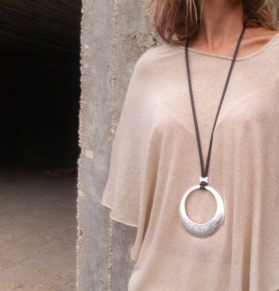 Round pendant necklace, Non leather lace necklace, Long necklace, Statement…
