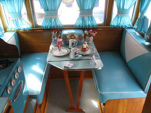 Isn't this a fun little interior; Shasta Travel trailer