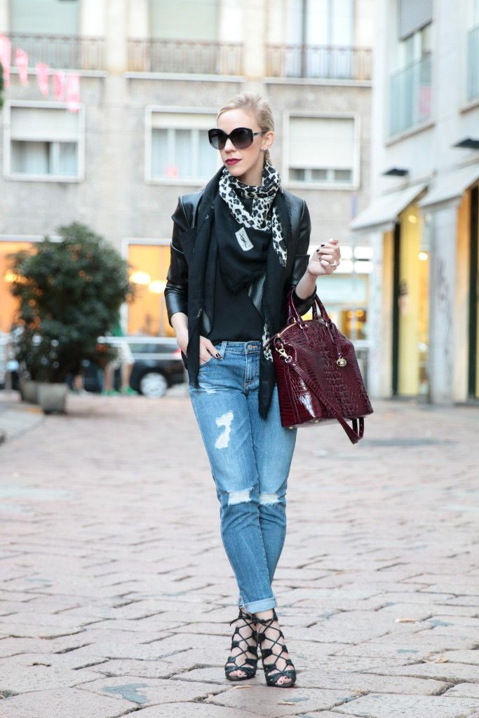Milan Street Style: black leather jacket, YSL leopard print scarf ...