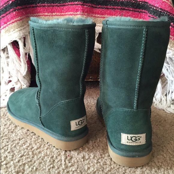 Women's UGG forest green classic short Forest green short women's UGGs. Like new and have barely been worn. Perfect for winter time! UGG Shoes Winter & Rain Boots