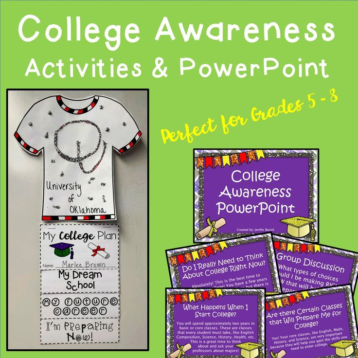 College Awareness Activities and PowerPoint   This set is perfect for Grades 5-8! I created these activities and PowerPoint for my elementary school's college and career week. However, any teacher who wishes to enrich his/her students' future plans will find this set most useful! I believe that students, starting in 5th grade, can benefit from looking to the future and using their early years to prepare for college by choosing the right classes and knowing who to ask for help.
