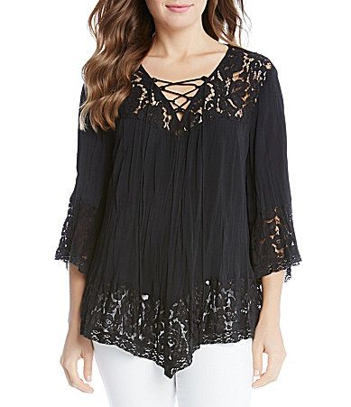 Karen Kane Pebble Crepe Lace Up Crushed Top #Dillards