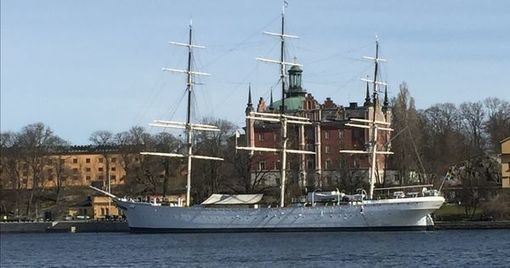 A full-rigged steel ship moored on the western shore of the islet Skeppsholmen in central Stockholm, Sweden, now serving as a youth hostel.