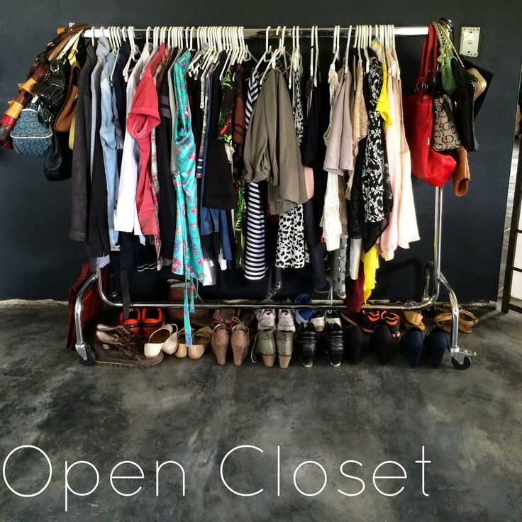 My Home: Open Closet and Dressing Room. Concrete floors and charcoal walls with modern and vintage pieces. http://linnyandco.blogspot.com/2015/03/my-home-open-closet-dressing-room.html