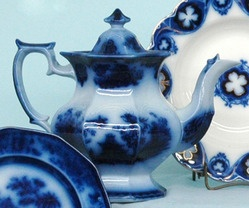A mid-19th century, J. Clementson, Chusan Pattern Flow Blue china coffee pot ...