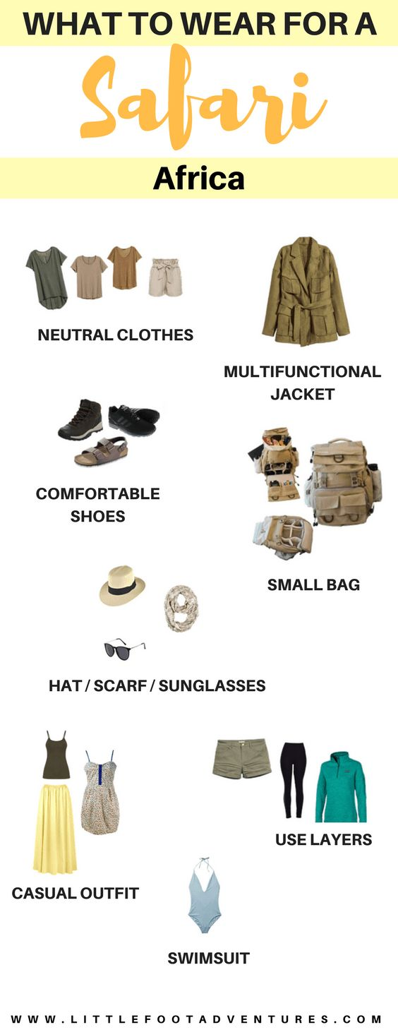 What to wear for a Safari in Africa. A Safari is a unique experience that you will cherish for the rest of your life   For this adventure to go smoothly, read my advice on what to wear: www.littlefootadventures.com  Safari | Africa | Packing | List | Packing Tips | Packing Advice | Planning | Wear #Africa #Safari #Clothes #Wear #Packing #Tips #List #Packingtips