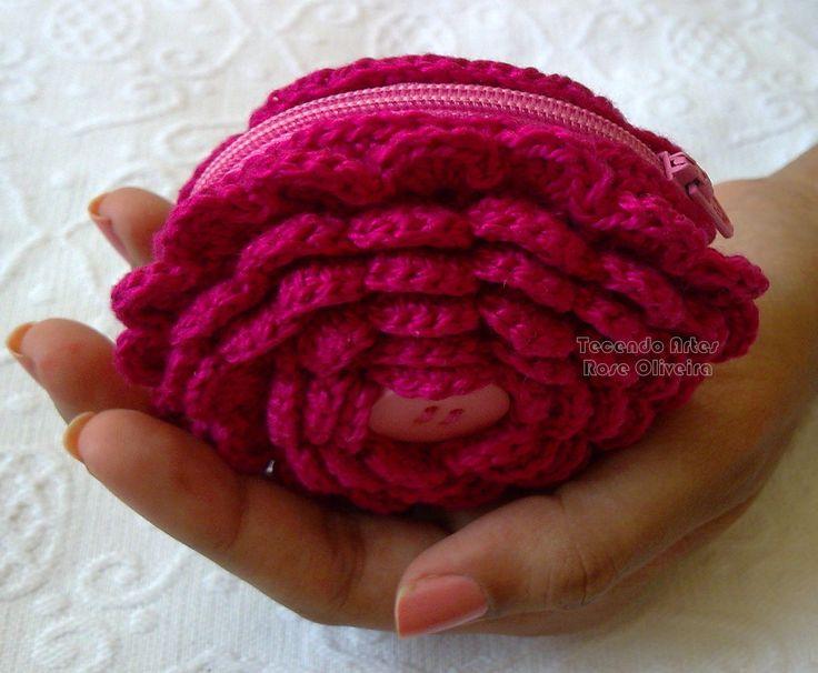 Tecendo Artes em Crochet: Porta Moedas Flowers Com uma Receitinha Básica!