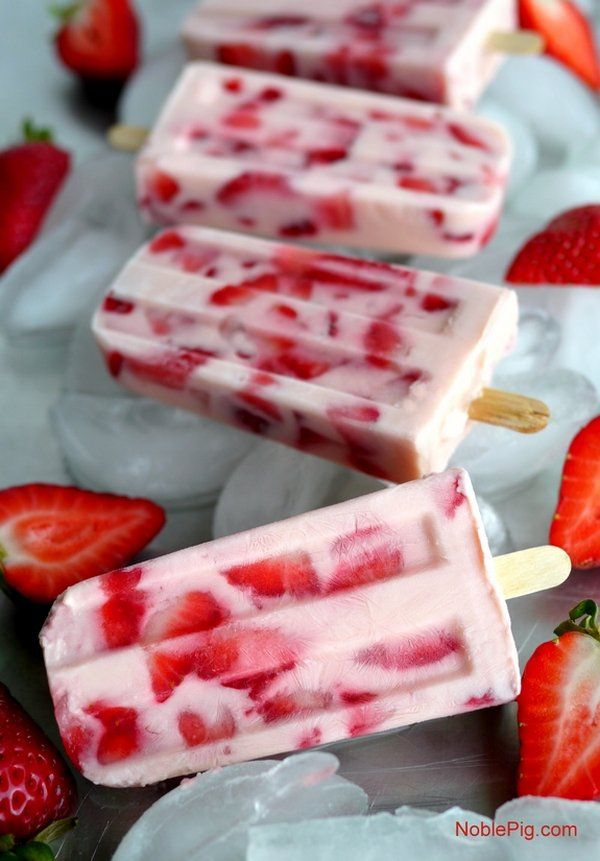 "<p>Recipe: <a href=""http://noblepig.com/2015/06/strawberries-and-cream-popsicles/"" target=""_blank"">Strawberries and Cream Popsicles</a> </p>"
