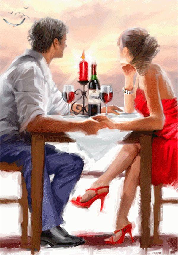 Анимация Мужчина и девушка за столиком пьют вино и держаться за руки, любуясь розовым закатом