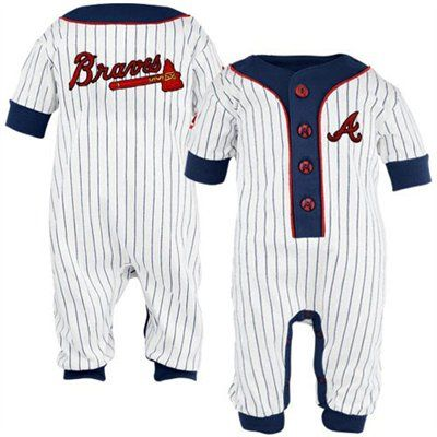 Majestic Atlanta Braves Infant White Pinstripe Coveralls
