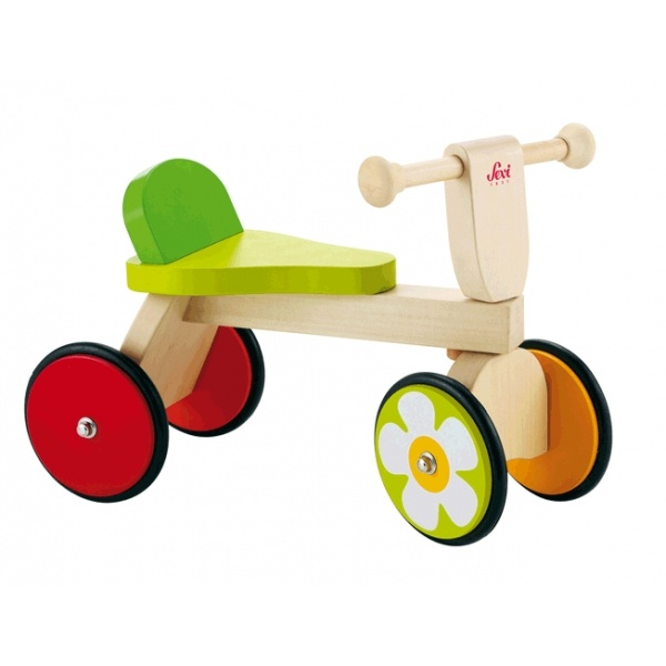 Jouet en bois écologique - jouets Bio - Traditionnel : Porteur 4 Roues Baby Buggy Sevi 1831 - Jouets en Bois Bio