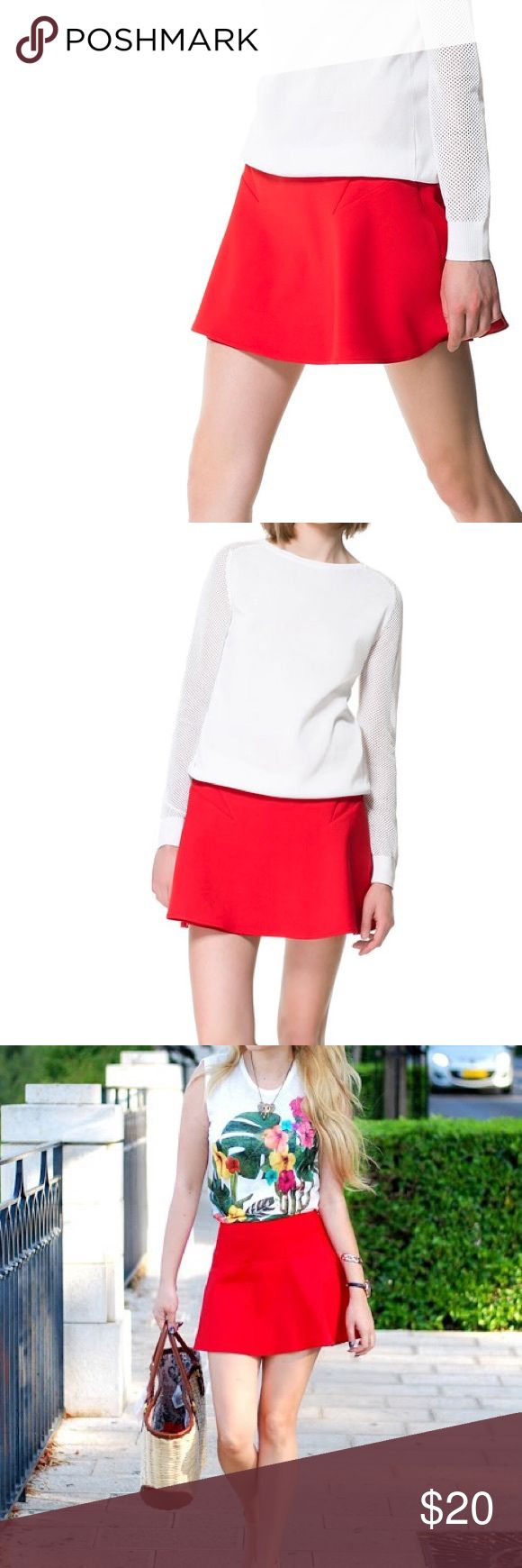 ZARA chic red double cloth mini skirt ZARA red double cloth mini skirt. Super cute for summer. Dress it up for a night out or pair with a tee and sandals for the day! Zara Skirts Mini