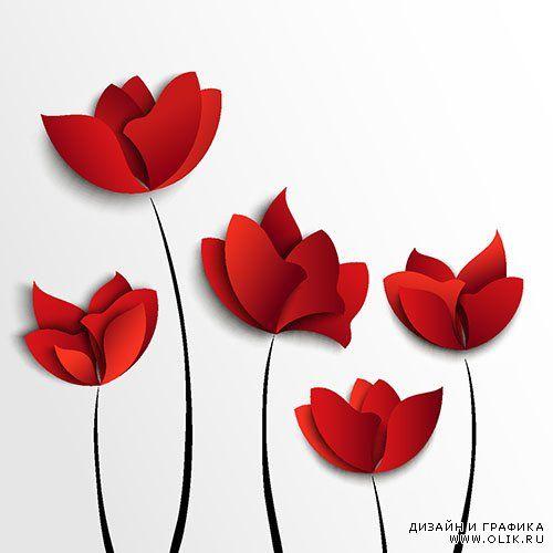 Векторный клипапрт - Абстрактные цветы