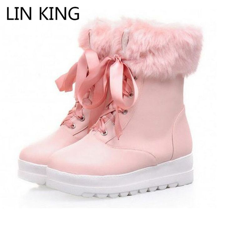 Cheap boot shoe laces, Buy Quality boot rain directly from China shoes boots women Suppliers: LIN KING New Style Ribbon Lace Up Women Winter Casual Shoes High Top Round Toe Platform Martin Boots PU Leather Warm Snow Boot