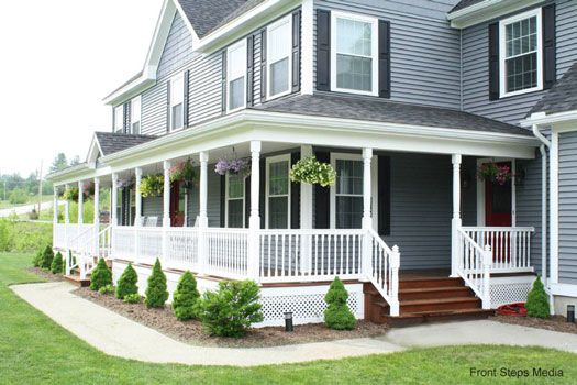 gray w/black shutters, white railings, mahogany porch floor, center gable, hanging baskets, walkway, side stepsGray Exterior, Porches Decor, Black Gray House Porches, Dark Wood, Black White, Black Shutters, Wood Porches, Dreams Porches, Hanging Flower Baskets