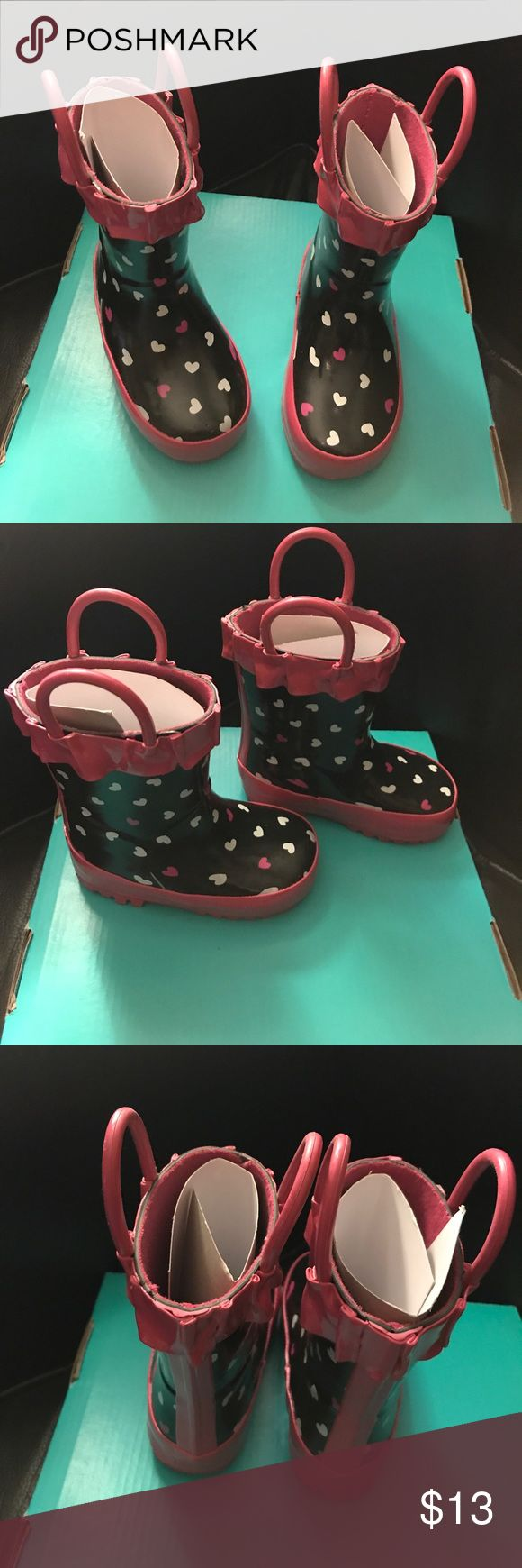 Toddler girls rain boots Toddler girls rain boots new size 4/5 pink and black with hearts Shoes Rain & Snow Boots