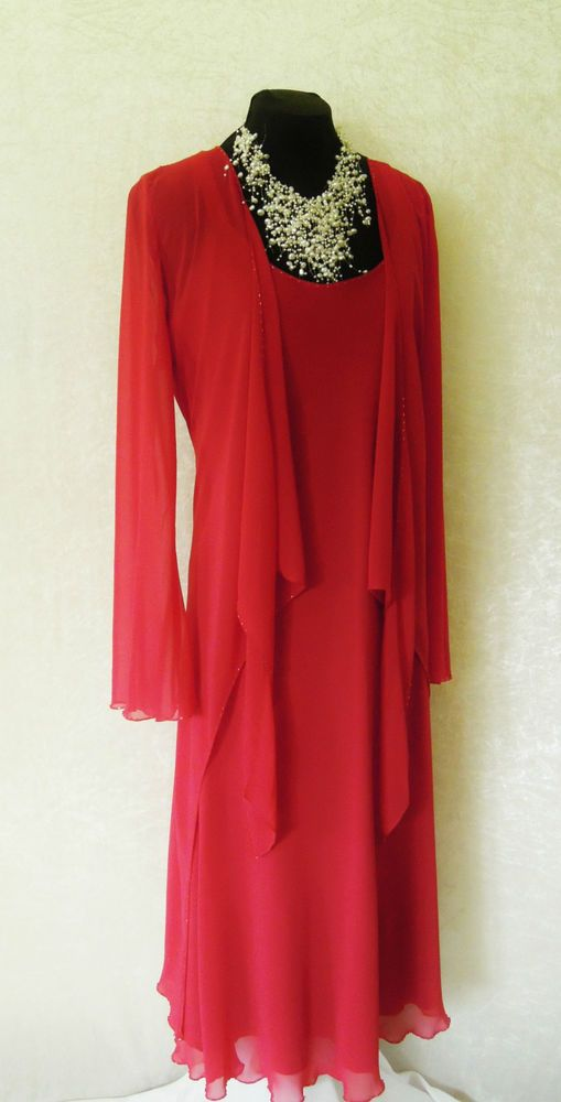 Bacconi wedding outfit size14 red dress and jacket suit for Womens dress jacket wedding