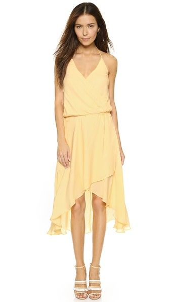 Yellow chiffon dress for an outdoor wedding guest outfit
