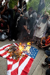 burning us flag