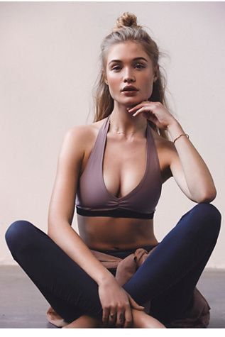The prettiest sports bra ever // Basic Audition Bralette | Crafted from a finely woven blend, this performance bralette is made to move easily with the body. Flexible fabrication supports for maximum stretchability.  Featuring a halter strap design and hook back closure for an effortless fit.